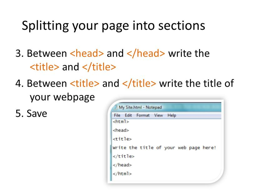 Splitting your page into sections 3