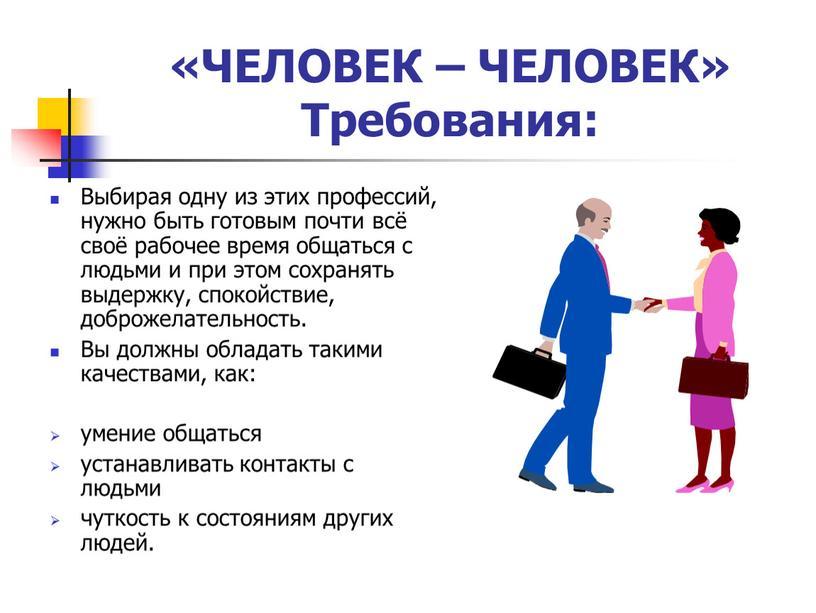 ЧЕЛОВЕК – ЧЕЛОВЕК» Требования: