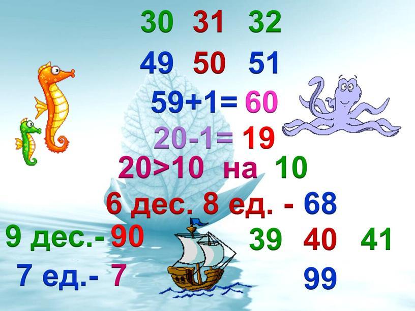 30 31 32 49 50 51 59+1= 60 20-1= 19 20>10 на 10 6 дес. 8 ед. - 68 9 дес.- 90 7 ед.- 7…