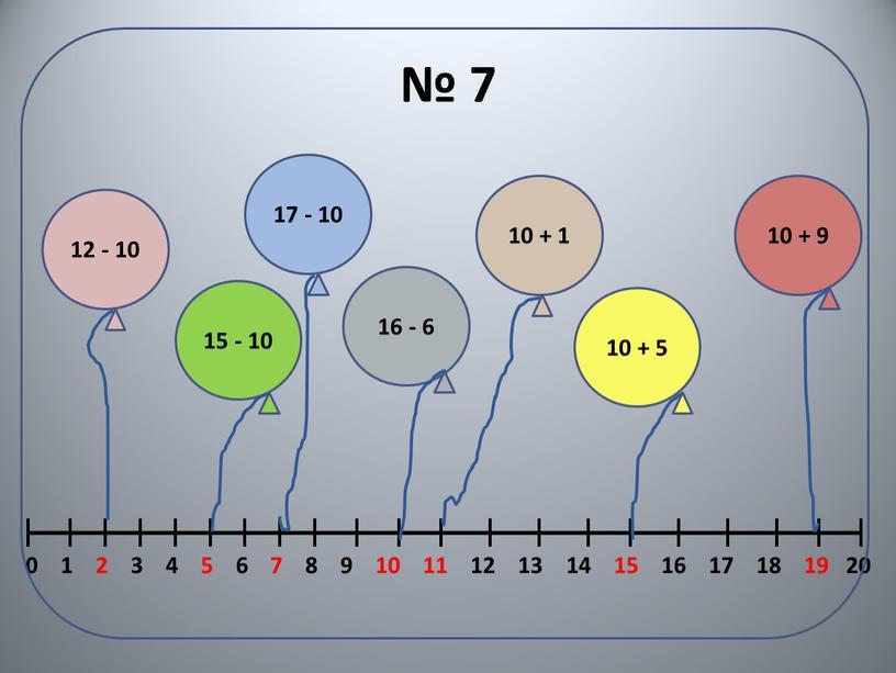 № 7 12 - 10 15 - 10 17 - 10 16 - 6 10 + 1 10 + 5 10 + 9 0 1…