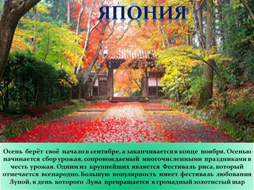 Осень берёт своё начало в сентябре, а заканчивается в конце ноября