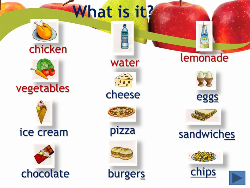What is it? chicken vegetables ice cream chocolate water cheese pizza burgers lemonade eggs sandwiches chips