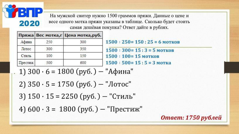 """Афина"""" Ответ: 1750 рублей На мужской свитер нужно 1500 граммов пряжи"""