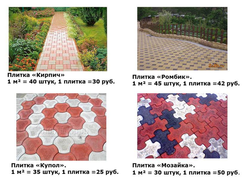 Плитка «Кирпич» 1 м² = 40 штук, 1 плитка =30 руб
