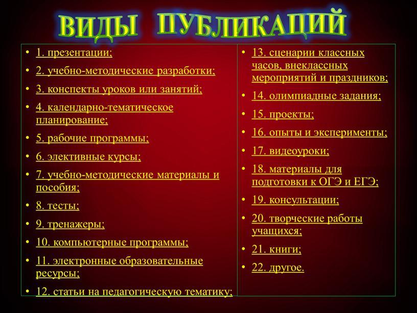 ВИДЫ ПУБЛИКАЦИЙ 13. сценарии классных часов, внеклассных мероприятий и праздников; 14