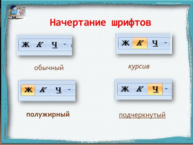 Начертание шрифтов подчеркнутый курсив
