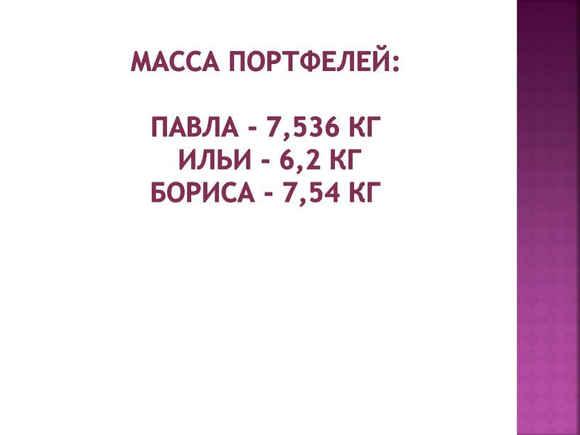 Масса портфелей: Павла - 7,536 кг