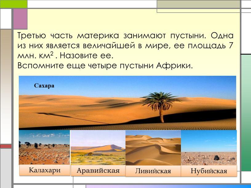 Третью часть материка занимают пустыни