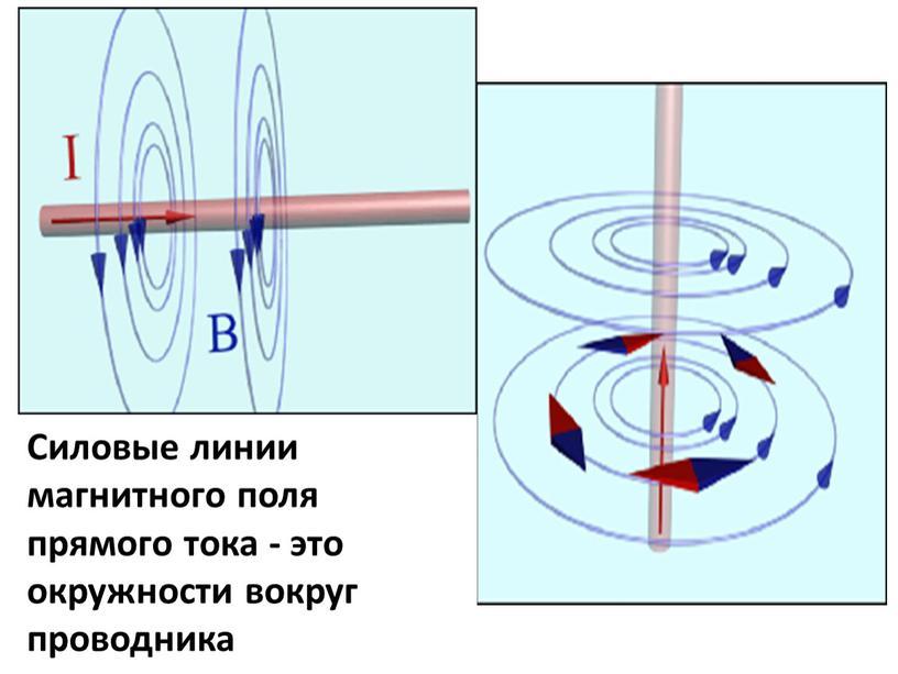 Силовые линии магнитного поля прямого тока - это окружности вокруг проводника