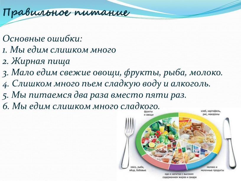 Правильное питание Основные ошибки: 1