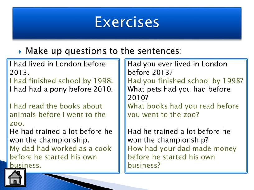 Make up questions to the sentences: