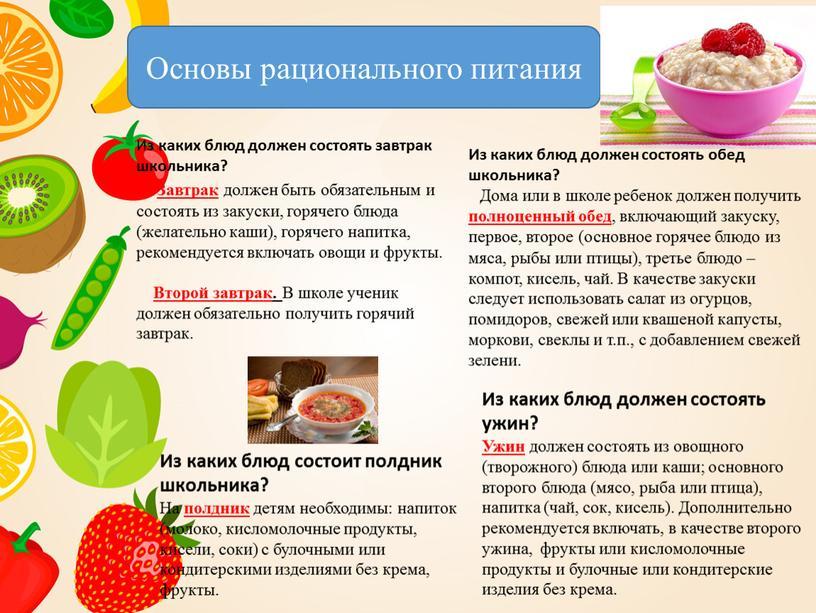Основы рационального питания И з каких блюд должен состоять завтрак школьника?