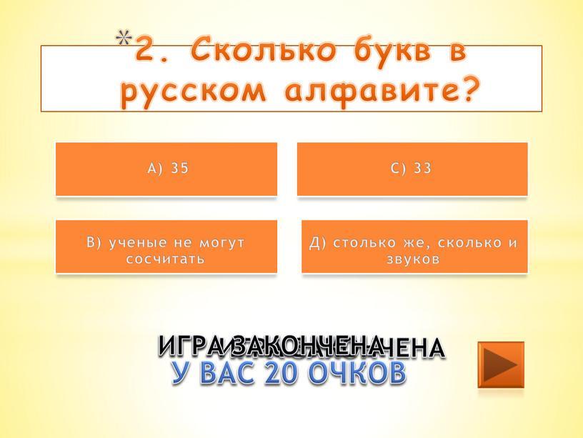 Сколько букв в русском алфавите?
