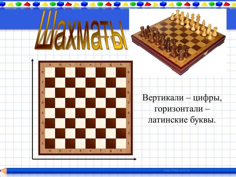Шахматы Вертикали – цифры, горизонтали – латинские буквы