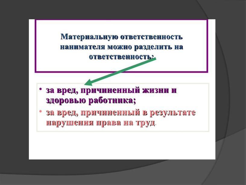 Презентация на тему Материальная ответственность за вред причиненный жизни и (или) здоровью работника