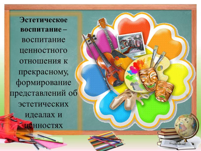Эстетическое воспитание – воспитание ценностного отношения к прекрасному, формирование представлений об эстетических идеалах и ценностях