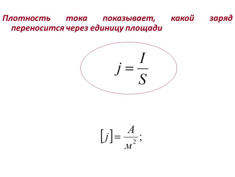 Плотность тока показывает, какой заряд переносится через единицу площади