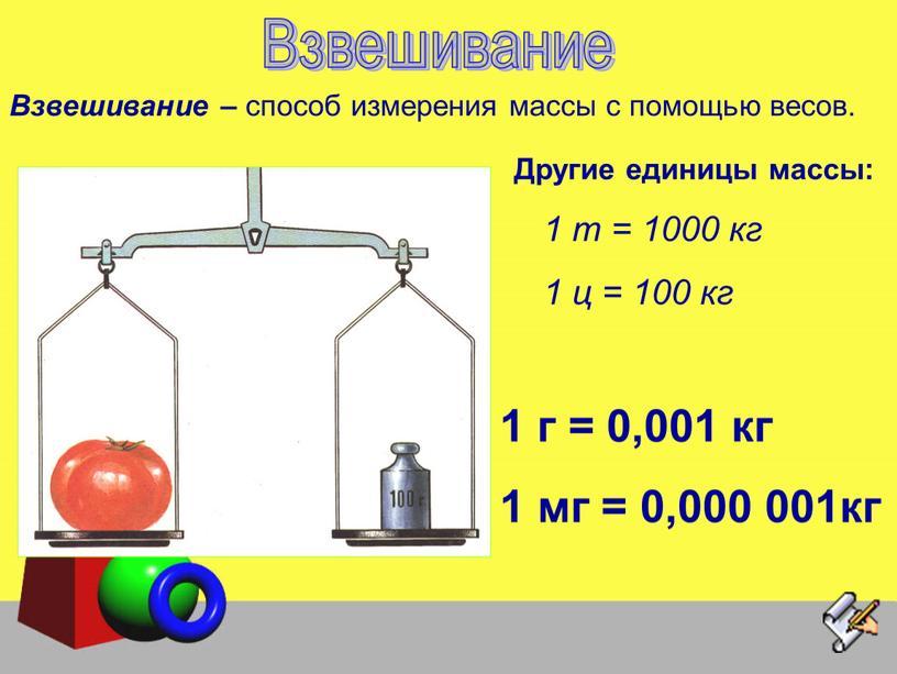 Взвешивание Другие единицы массы: 1 т = 1000 кг 1 ц = 100 кг