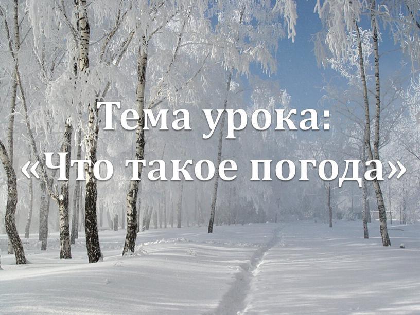 Тема урока: «Что такое погода»