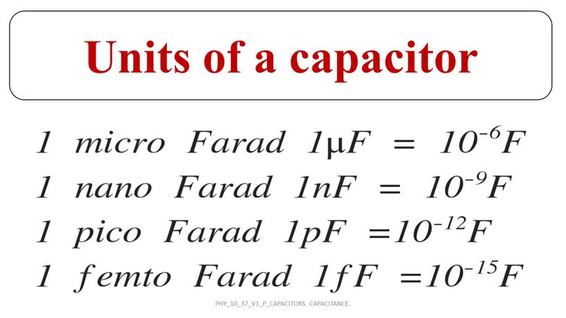 Units of a capacitor PHY_10_37_V1_P_CAPACITORS