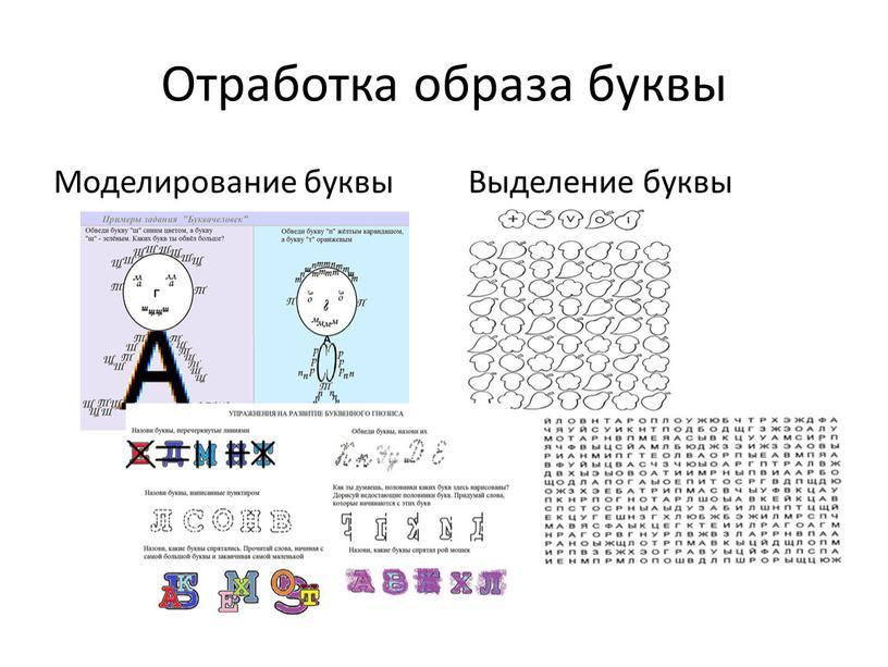 Отработка образа буквы Моделирование буквы