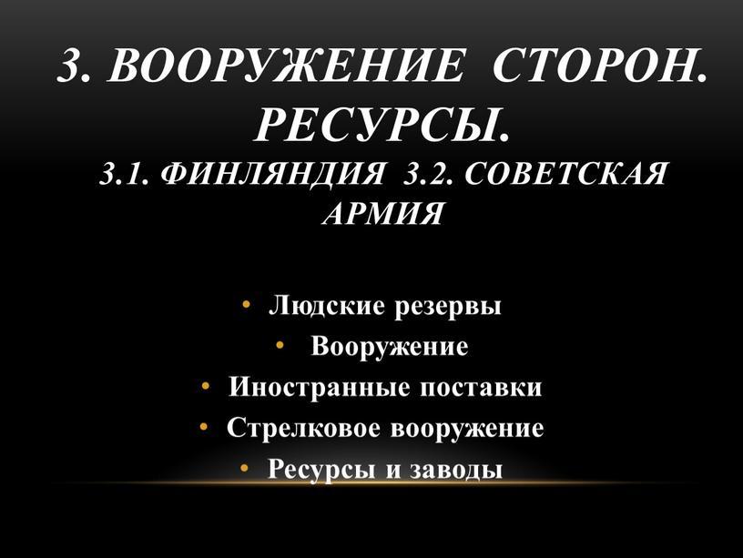 Людские резервы Вооружение Иностранные поставки