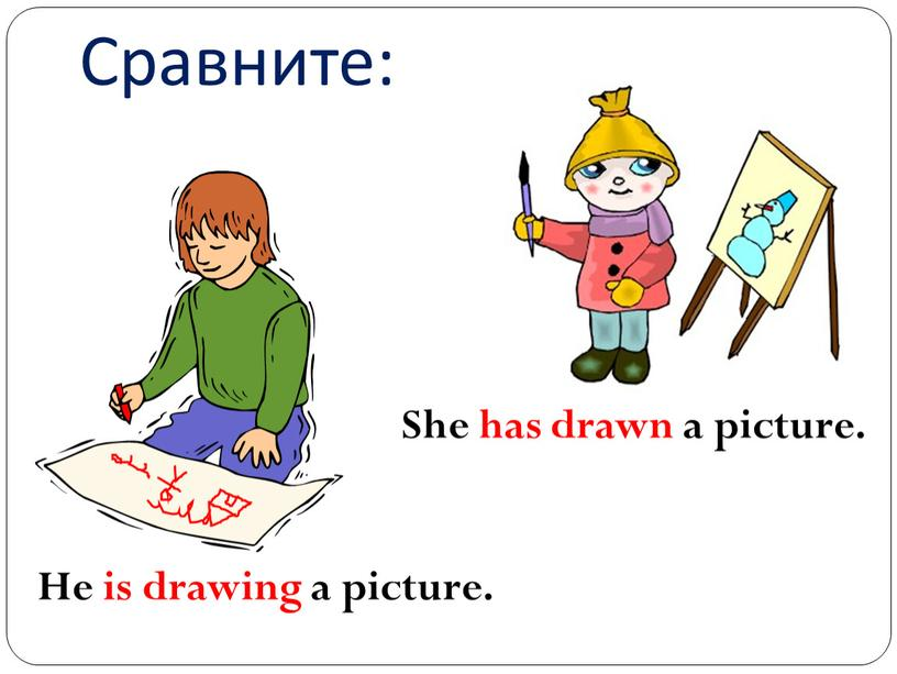 Сравните: He is drawing a picture