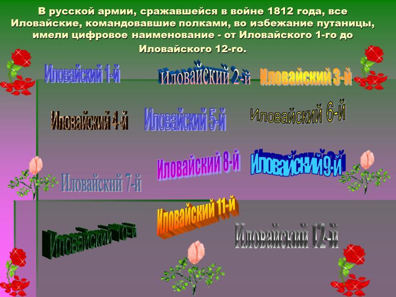 В русской армии, сражавшейся в войне 1812 года, все