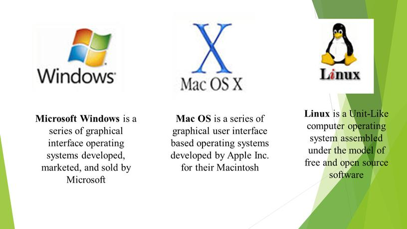Linux is a Unit-Like computer operating system assembled under the model of free and open source software