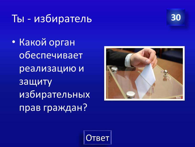 Ты - избиратель Какой орган обеспечивает реализацию и защиту избирательных прав граждан? 30