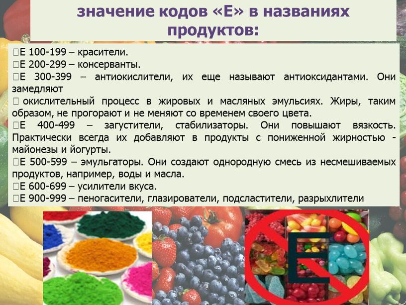 Е» в названиях продуктов: Е 100-199 – красители