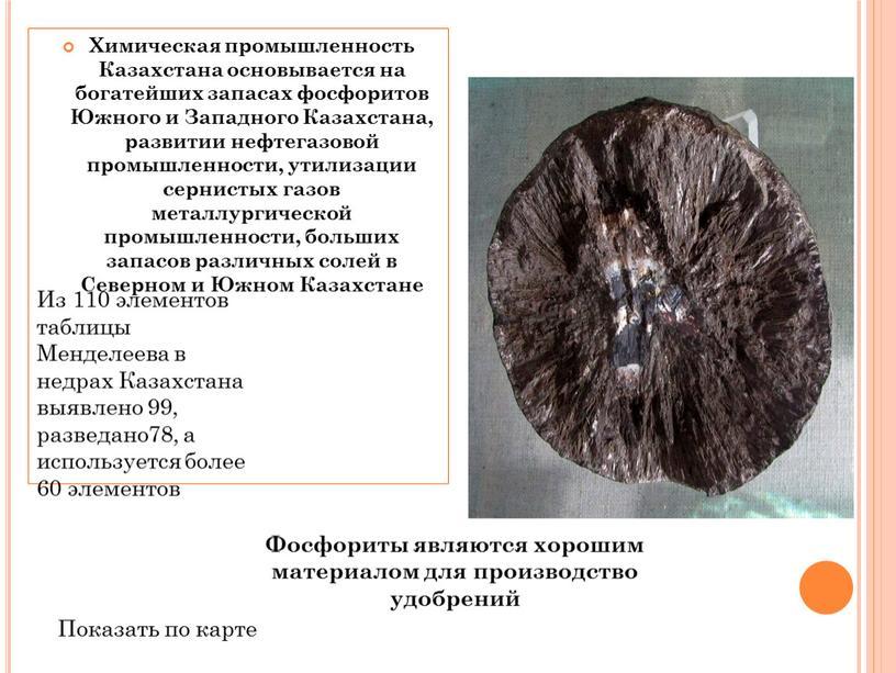 Химическая промышленность Казахстана основывается на богатейших запасах фосфоритов