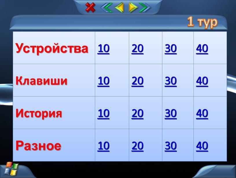 Устройства 10 20 30 40 Клавиши