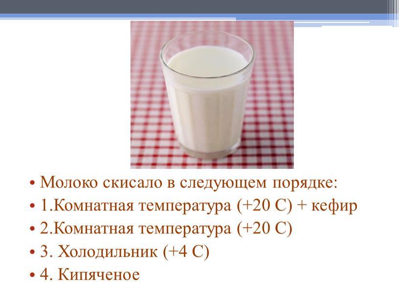 Молоко скисало в следующем порядке: 1