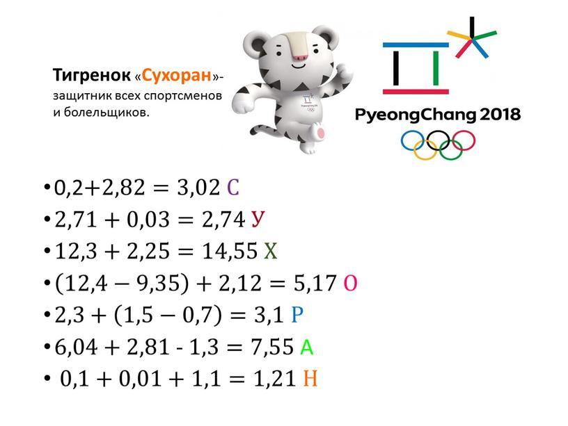 С 2,71+0,03=2,74 У 12,3+2,25=14,55