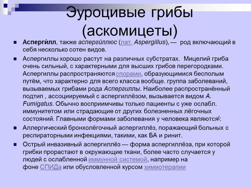 Эуроцивые грибы (аскомицеты) Асперги́лл , также асперги́ллюс (лат