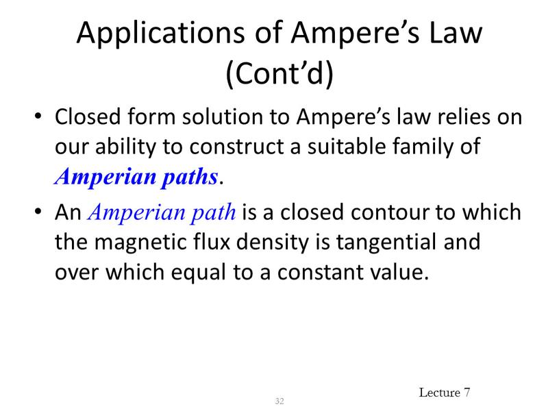 Applications of Ampere's Law (Cont'd)