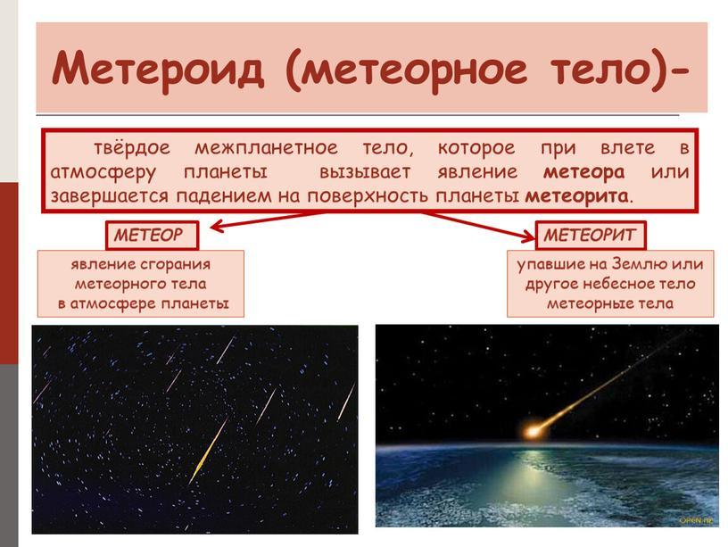 Метероид (метеорное тело)- - явление сгорания метеорного тела в атмосфере планеты