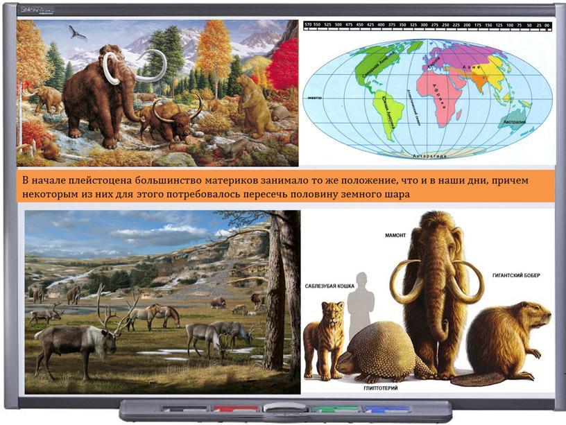 В начале плейстоцена большинство материков занимало то же положение, что и в наши дни, причем некоторым из них для этого потребовалось пересечь половину земного шара
