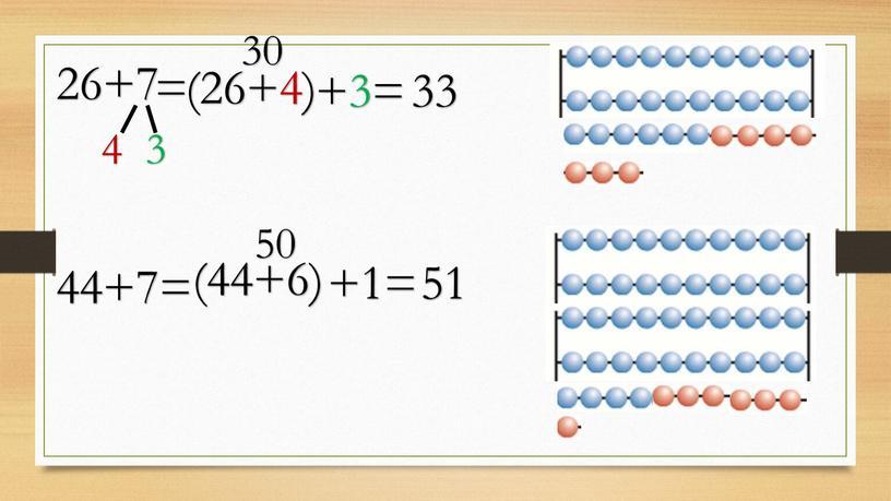 26+7 4 3 = (26+4) +3= 30 33 44+7= (44+6) +1= 50 51