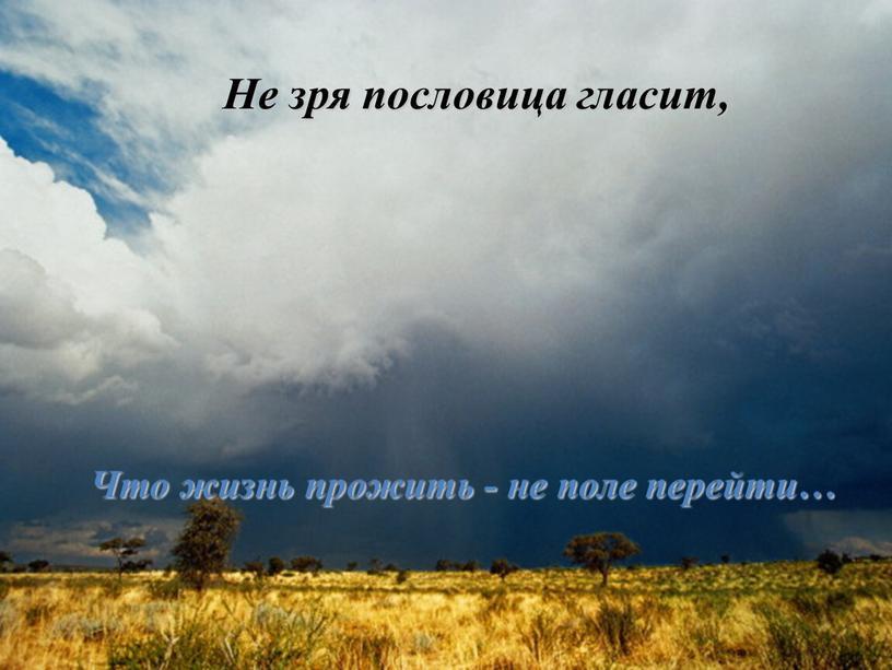 Не зря пословица гласит, Что жизнь прожить - не поле перейти…