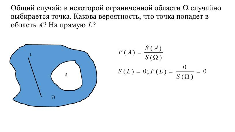 Общий случай: в некоторой ограниченной области  случайно выбирается точка
