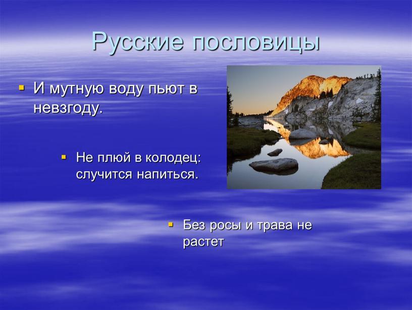 Русские пословицы И мутную воду пьют в невзгоду