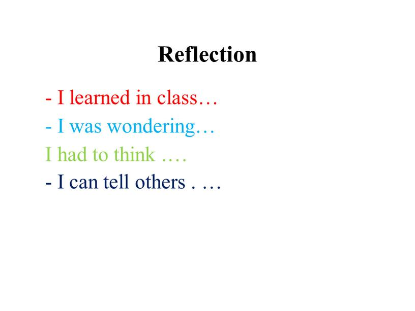 Reflection - I learned in class… -