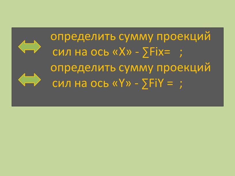 Х» - ∑Fiх= ; определить сумму проекций сил на ось «Υ» - ∑FiΥ = ;