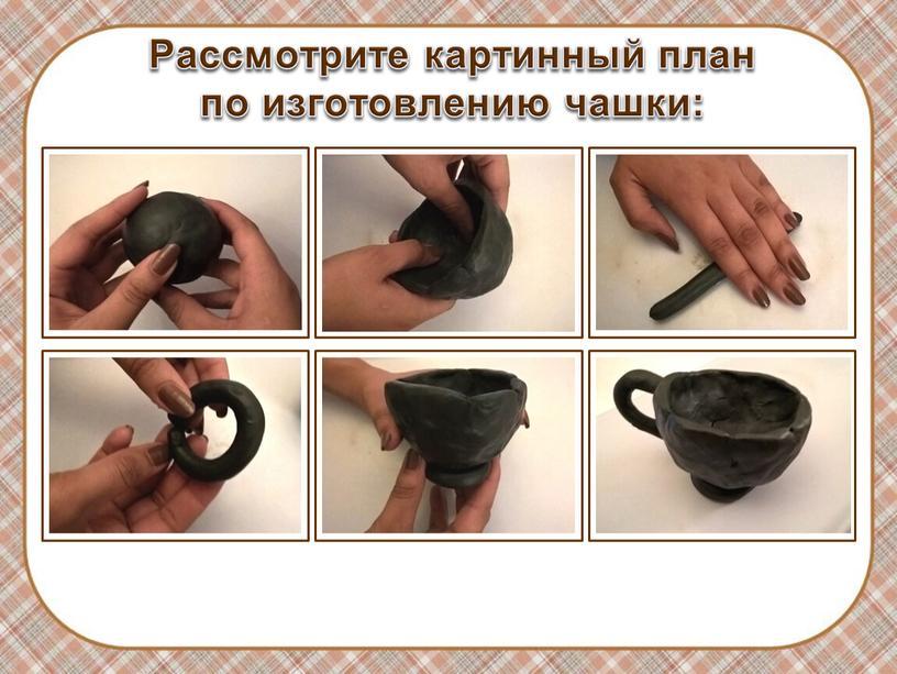 Рассмотрите картинный план по изготовлению чашки: