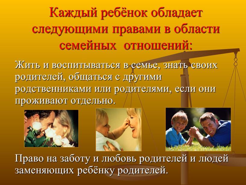 Каждый ребёнок обладает следующими правами в области семейных отношений: