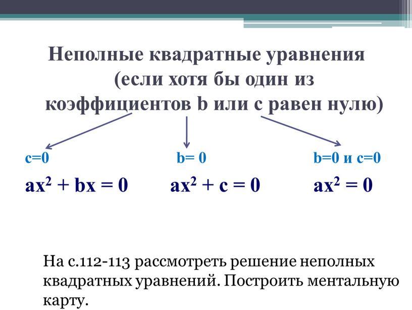 Неполные квадратные уравнения (если хотя бы один из коэффициентов b или c равен нулю) с=0 b= 0 b=0 и c=0 аx2 + bx = 0…