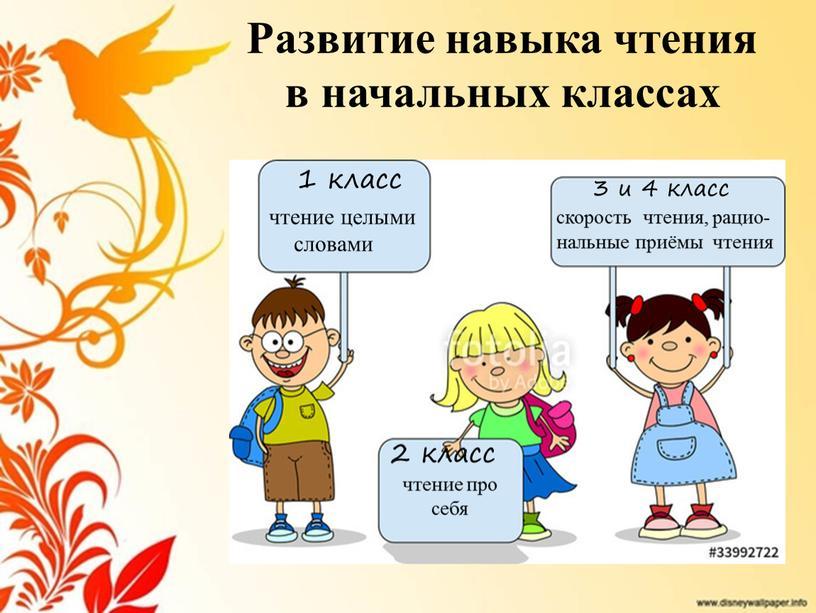 Развитие навыка чтения в начальных классах 1 класс чтение целыми словами 2 класс чтение про себя 3 и 4 класс скорость чтения, рацио- нальные приёмы…