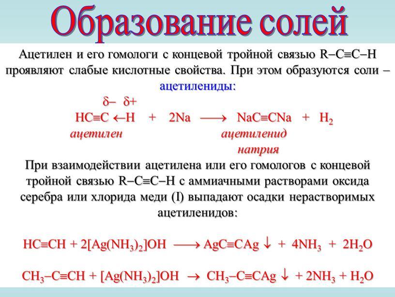 Образование солей Ацетилен и его гомологи с концевой тройной связью